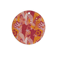 """Akwaflorell """"Fishes Here, Fishes There 3"""" Pink Orange Ceramic Circle Ornament"""