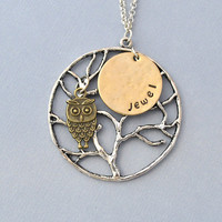Personalized night OWL with MOON necklace,  Custom necklace owl necklace by jewelmango