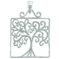 Southern Gates Medium Square Oak Tree Pendant in Sterling Silver