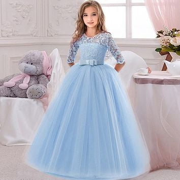 Flower Girl's Birthday Banquet Lace Stitching Dress Elegant Girls'School Party Dinner Dresses for Graduation Ceremony Ball