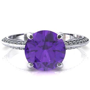 Nancy Round Amethyst 4 Prong 1/2 Eternity Diamond Knife Shank Accent Engagement Ring