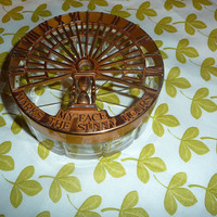 My Face Marks the Sunny Hours Sundial Antique Ashtray