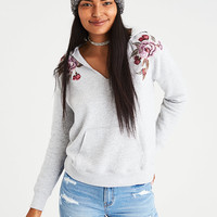 AE Embroidered Notch-Neck Hoodie, Gray