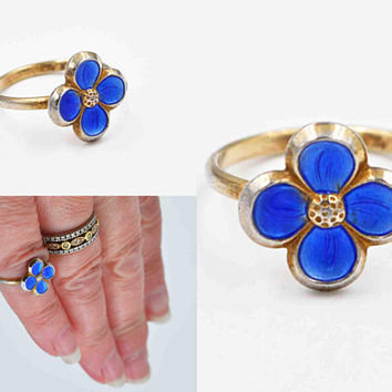 Vintage David-Andersen Sterling Silver Blue Flower Ring, Forget-Me-Not, Norway Sterling, Guilloche Enamel, Size 4, Pinky Midi #c512