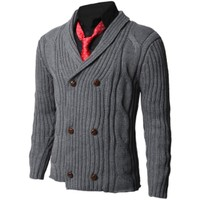 Mens Casual Knit Sweater Half Cardigan 25