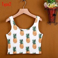 Zeagoo Women's Sexy Strap Crop Top Plant Printed Tank Tops Blouse Vest