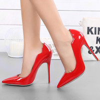 Shoes Woman Red High Heels Stilettos Patent Leather 12CM Heels Women Shoes Sexy Pumps Ladies Wedding Shoes for Women