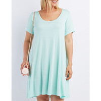 Plus Size Scoop Neck Trapeze Shift Dress