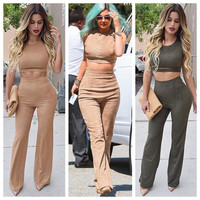 Sleeveless Cropped Top and Pants Set