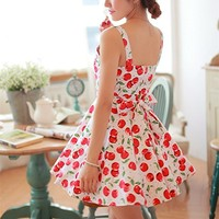 Magic Pieces Full Cherry Printed Dress with Bowtie Detail 063031