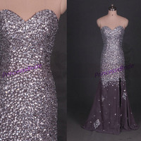 Latest floor length prom gowns with rhinestones,stunning evening dresses hot,chic elegant women dress for party affordable.