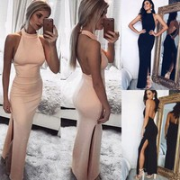 2019 New Fashion Hot Sexy Women Long Formal Party Gown Bridesmaid Sleeveless Backless Halter Dress