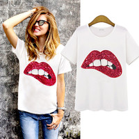 Fashion Casual Lips Manual Sequin Short Sleeve Round Neck Cotton T-shirt