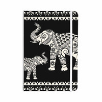 "Famenxt ""Ornamental Indian Elephant"" Black White Digital Everything Notebook"