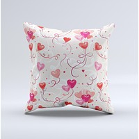 Pink Red and Tan Heart Balloon Pattern ink-Fuzed Decorative Throw Pillow