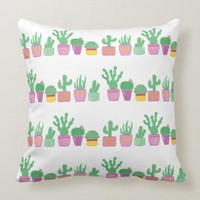 Cute whimsical cactus plants a row cushion | Zazzle.co.uk