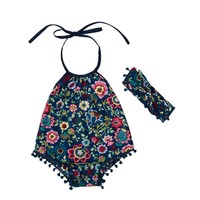 New Summer Infant Baby Girl Pompoms Style Sunsuit Girls Cotton Floral Outfit Girls Boutique Romper&Headband Baby Girls Clothes
