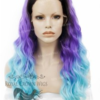 """24 inch Heat Safe Synthetic Lace Front """"Ada"""" with Wavy Texture in Rooted Purple to Blue Ombre"""