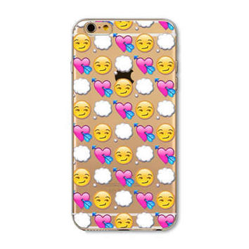 Facebook Cloud Heart Emoji Collage Painted Soft TPU Silicon Cases CoverCase For Apple iPhone 4 4S 5 5S SE 5C 6 6S 6 Plus 6S Plus