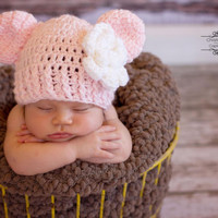 Pink Baby Girl Hat with Ears and Flower - Beanie Cap