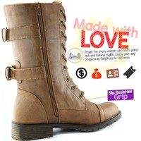 Women's Military Up Buckle Combat Boots Mid Knee High Exclusive Credit Card Pocket, Black, 9