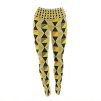 "Louise Machado ""Onyx"" Yellow Black Yoga Leggings"