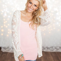 Lace Embroidered Open Cardigan