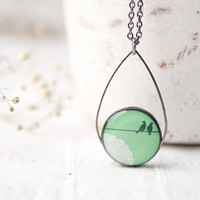 Mint Birds on Wire necklace - Pastel jewelry - Bridesmaids jewelry - christmasinjuly CIJ (N034)