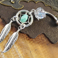 Belly Button Ring Turquoise Dream Catcher