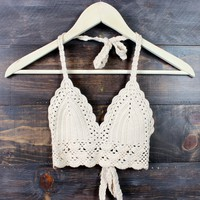FINAL SALE - boho festival crochet crop top - nude