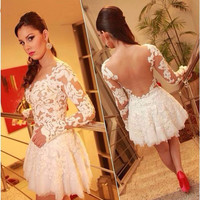 See Through Back Ivory Long Sleeve Short Mini Cocktail Party Dress Cheap Pirce Homecoming Gowns Wedding Party Dress Prom Gown
