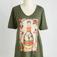 Quirky Mid-length Short Sleeves Frida Be You Tee