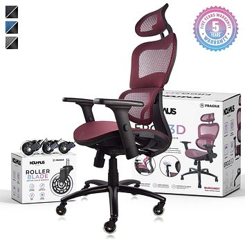 NOUHAUS Ergo3D Ergonomic Office Chair - Rolling Desk Chair with 3D Adjustable Armrest, 3D Lumbar Support and Extra Blade Wheels - Mesh Computer Chair, Gaming Chairs, Executive Swivel Chair (Burgundy) Burgundy