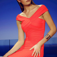 Red Sleeveless V-Neckline Bardot Dress with All Over Pleats Detail