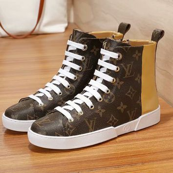 LV Louis Vuitton Women High Tops Shoes Boots White Lace Up Gold Tail