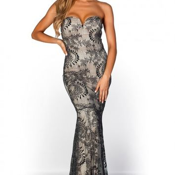 Audrina Gray and Nude Strapless Long Lace Mermaid Gown