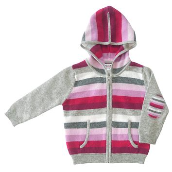 Striped Cashmere Hoodie in Pink