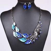 Shiny Gift New Arrival Peacock Jewelry Set Korean Stylish Necklace [6586307399]