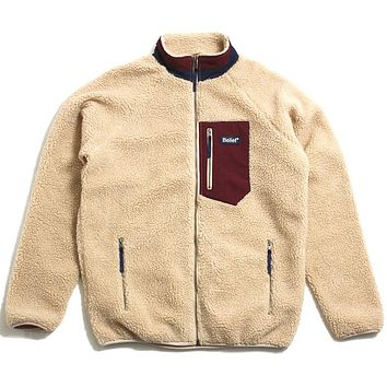 Arctic Zip Fleece Jacket Camel / Maroon