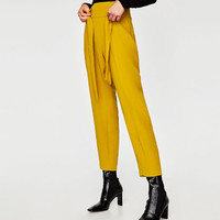 DARTED TROUSERS WITH BELT DETAILS