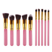 [BIG SALE] on 10 Piece Pro Makeup Brush Set  (Pink)