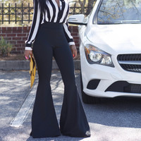 CAPTIVATING Black High Waist Bell Bottom Pants
