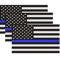 Reflective US Flag Decal Packs with Thin Blue Line for Cars & Trucks, 5 x 3 inch American USA Flag Decal Sticker Honoring Police Law Enforcement 3M Vinyl Window Bumper Tape (3-PACK)
