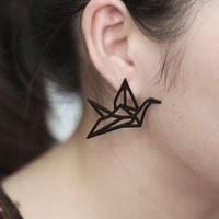 (Mini Mix Order >$10) New Vintage Punk Gold/Silver Plated Hollow Paper Crane Peace Dove Studs Earrings Dress Jewelry Bijoux