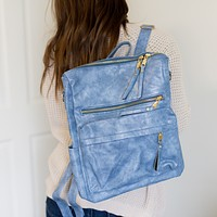 Hailey Convertible Backpack - Dusty Blue