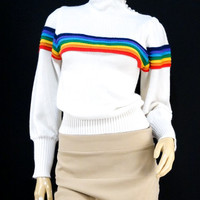 "Vintage ""Freaks and Geeks"" Ricki By Miss Erika Inc. Acrylic Knit Rainbow Sweater - SM"