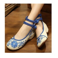 Vintage Flat Ballet Ballerina Cotton Chinese Embroidered Slippers & Shoes for Women in Blue Floral Design