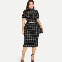 Plus Size Two Piece Women Set Mock Neck Short Sleeve Plaid Crop Top  Skirt Set Womens 2 Piece Outfits