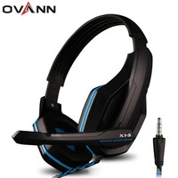 Ovann 3.5mm Plug Professional HIFI Bass Gaming Headset Earphone Headphone with Microphone for Sony PlayStation 4 XBOX ONE PC