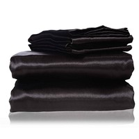 Cool 2017 new  silk Flat Sheet Fitted Sheet Pillow Cases Twin Full Queen King Sizes Nestl  Bedding Set with Deep Pocket BlackAT_93_12